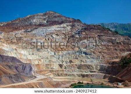 Largest iron europe open mine pit in Eisenertz - stock photo