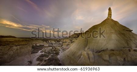 Las Bardenas Reales desert (panorama) - stock photo