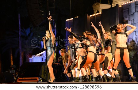 LAS PALMAS, SPAIN - FEBRUARY 15: Singer Marta Sanchez from Madrid, Queen of Spanish pop, and unidentified dancers onstage during the Carnival's Drag Queen Gala on February 15, 2013 in Las Palmas,Spain