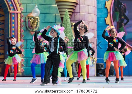 LAS PALMAS, SPAIN - FEBRUARY 23: Unidentified children from Atamarazait from Canary Islands, onstage during Children's Costume performance, on February 23, 2014 in Las Palmas, Spain - stock photo
