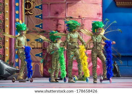 LAS PALMAS, SPAIN - FEBRUARY 23: Unidentified children from Begona Padron from Canary Islands, onstage during Children's Costume performance, on February 23, 2014 in Las Palmas, Spain - stock photo