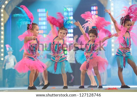 LAS PALMAS, SPAIN - FEBRUARY 2: Unidentified children from dance-group Brisa de Volcan from Canary Islands, performs onstage during Children's dance contest on Saturday 2, 2013 in Las Palmas, Spain. - stock photo