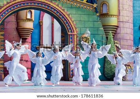 LAS PALMAS, SPAIN - FEBRUARY 23: Unidentified children from Las Preciosas Bailarinas from Canary Islands, onstage during Children's Costume performance, on February 23, 2014 in Las Palmas, Spain - stock photo