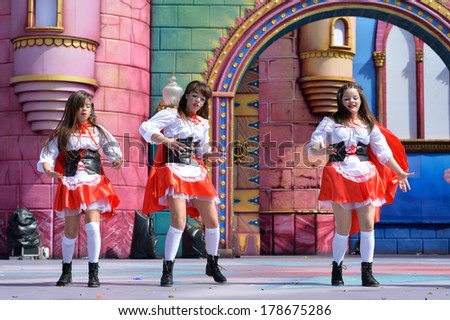 LAS PALMAS, SPAIN - FEBRUARY 23,2014: Unidentified children from Tazare Dance from Canary Islands, onstage during Children's Costume performance - stock photo