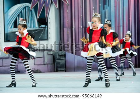 LAS PALMAS, SPAIN-FEBRUARY 12: Unidentified Children from Xacara and Colegio Las Mesas, from Canary Islands, perform during The Children's Costume Competition on February 12, 2012 in Las Palmas,Spain - stock photo