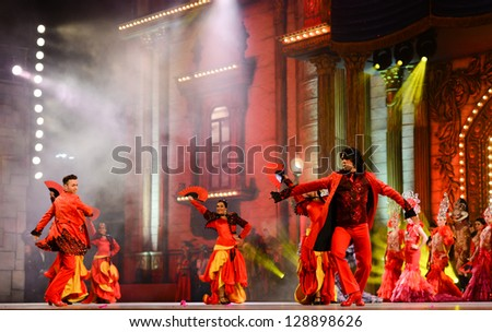LAS PALMAS, SPAIN - FEBRUARY 15: Unidentified dancers from Ballet Espana (BNE), from Madrid, performing onstage during the Carnival's Drag Queen Gala on February 15, 2013 in Las Palmas, Spain - stock photo