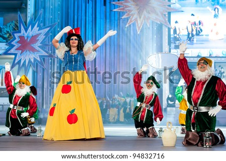 LAS PALMAS , SPAIN - FEBRUARY 9: Unidentified members from the group Amanecer Rociero, from Canary Islands, during the Adult Costume Competition on February 9, 2012 in Las Palmas, Spain