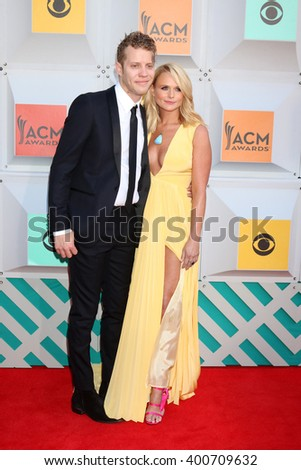 LAS VEGAS - APR 3:  Anderson East, Miranda Lambert at the 51st Academy of Country Music Awards Arrivals at the Four Seasons Hotel on April 3, 2016 in Las Vegas, NV - stock photo