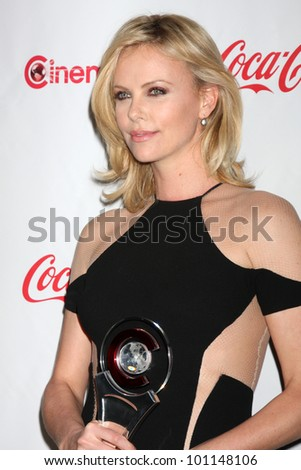 LAS VEGAS - APR 26:  Charlize Theron arrives at the CinemaCon 2012 Talent Awards at Caesars Palace on April 26, 2012 in Las Vegas, NV - stock photo