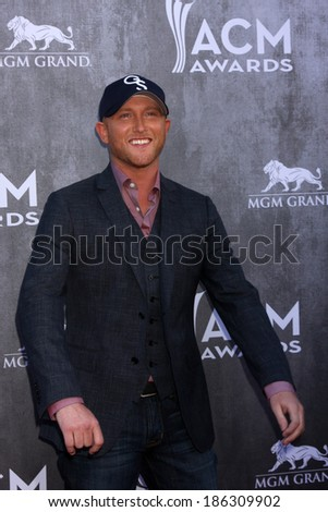 LAS VEGAS - APR 6:  Cole Swindell at the 2014 Academy of Country Music Awards - Arrivals at MGM Grand Garden Arena on April 6, 2014 in Las Vegas, NV - stock photo