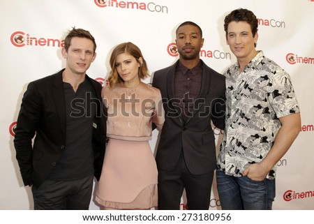 LAS VEGAS - APR 23:  Jamie Bell, Kate Mara, Michael B. Jordan, Miles Teller at the Twentieth Century Fox 2015 Presentation at Cinemacon at the Caesars Palace on April 23, 2015 in Las Vegas, CA