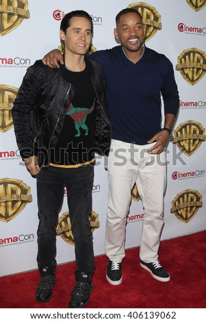 LAS VEGAS - APR 12: Jared Leto, Will Smith at the Warner Bros. Pictures Presentation during CinemaCon at Caesars Palace on April 12, 2016 in Las Vegas, Nevada - stock photo