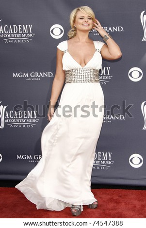 LAS VEGAS - APR 03:  Miranda Lambert arriving for the 46th Academy of Country Music Awards at the MGM Grand Hotel Casino in Las Vegas, Nevada on April 3, 2011. - stock photo