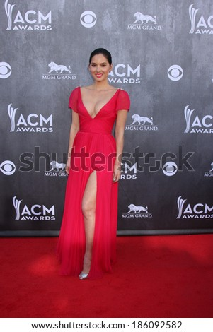 LAS VEGAS - APR 6:  Olivia Munn at the 2014 Academy of Country Music Awards - Arrivals at MGM Grand Garden Arena on April 6, 2014 in Las Vegas, NV - stock photo