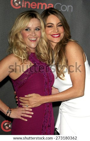 LAS VEGAS - APR 21:  Reese Witherspoon, Sofia Vergara at the Warner Brothers 2015 Presentation at Cinemacon at the Caesars Palace on April 21, 2015 in Las Vegas, CA - stock photo