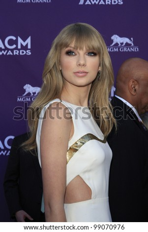 LAS VEGAS - APR 1: Taylor Swift at the 47th Annual Academy Of Country Music Awards held at the MGM Grand Garden Arena on April 1, 2012 in Las Vegas, Nevada