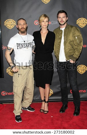 LAS VEGAS - APR 21:  Tom Hardy, Charlize Theron, Nicholas Hoult at the Warner Brothers 2015 Presentation at Cinemacon at the Caesars Palace on April 21, 2015 in Las Vegas, CA - stock photo