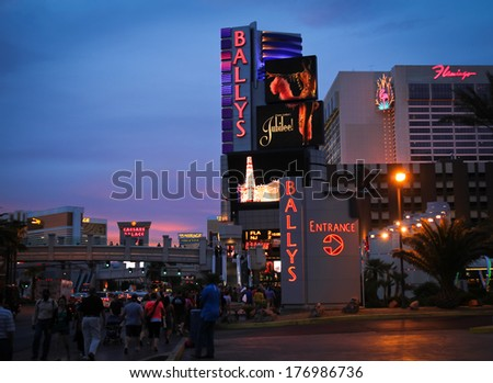 LAS VEGAS - APRIL 24 2012:  Ballys hotel at sunset, one of the premiere hotel on the famous Las Vegas strip - stock photo