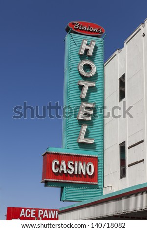 LAS VEGAS - APRIL 21, 2013 - Binion's Sign on April 21, 2013  in Las Vegas. The Binions Poker Classic 2013 takes place between May 25th and July 7th, 2013. - stock photo