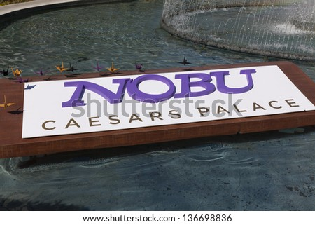 LAS VEGAS - APRIL 27, 2013 - Nobu Hotel Sign on April 27, 2013  in Las Vegas. Nobu Hotel features 181 rooms, including 18 suites, all designed by the architect David Rockwell. - stock photo