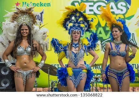 LAS VEGAS - APRIL 13 : Samaba dancers participate in the Vegas loves Brazil festival in Las Vegas on April 13 2013 , Vegas loves Brazil is the Nevada's Largest, Most Authentic Brazilian festival - stock photo