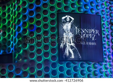 LAS VEGAS - APRIL 13 :The Jennifer Lopez show poster at Planet Hollywood Resort on Apeil 13 , 2016 in Las Vegas. The two hour show include a live band, dancers and it include Jennifer Lopez top songs. - stock photo