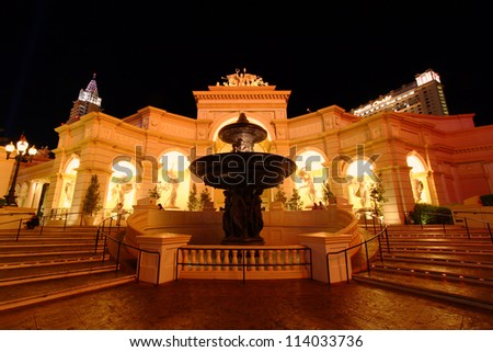 LAS VEGAS - APRIL 22: The Monte Carlo Resort and Casino on April 22, 2012 in Las Vegas.  The Monte Carlo opened in 1996 and has over 2,900 rooms available for visitors. - stock photo