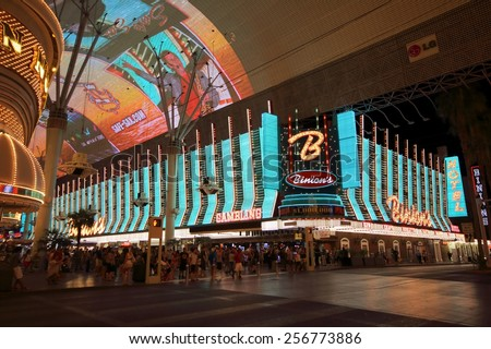 LAS VEGAS - AUGUST 14, 2014: Binion's Gambling Hall & Hotel, formerly Binion's Horseshoe, is a casino in downtown Las Vegas, Nevada on the Fremont Street Experience, on August 14, 2014 in Las Vegas. - stock photo