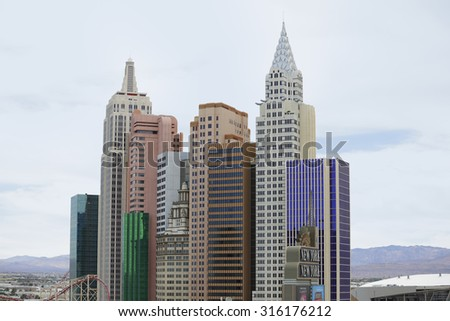 LAS VEGAS - AUGUST 7: Image of the miniature New York skyline replica at the New York Las Vegas Casino located at 	3790 S Las Vegas Blvd August 7, 2015 in Las Vegas NV, USA
