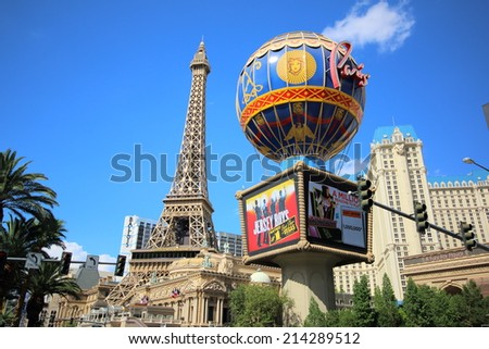 LAS VEGAS - AUGUST 14, 2014: Paris Hotel and Casino in Las vegas, on August 14, 2014. The hotel includes replicas of French items such as the Eiffel Tower or the Montgolfier Balloon.