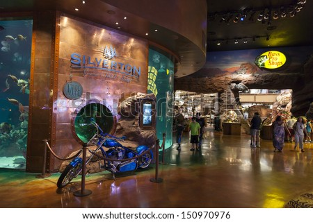 LAS VEGAS - AUGUST 20, 2013 - Silverton Hotel on August 20, 2013  in Las Vegas. A $150-million renovation in 2004 included the opening of a 145,000-square-foot Bass Pro Shop. - stock photo