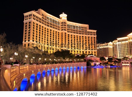 LAS VEGAS - DEC 27: Bellagio hotel and casino on December 27, 2012 in Las Vegas. Nevada casino's  revenue in 2012 hit 10.8 billion USD - stock photo