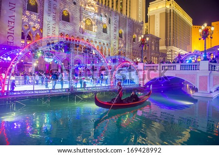 LAS VEGAS - DEC 30 :  Ice rink near the Venetian Resort Hotel in Las Vegas on December 30 , 2013. With more than 4000 suites it`s one of the most famous hotels in the world - stock photo