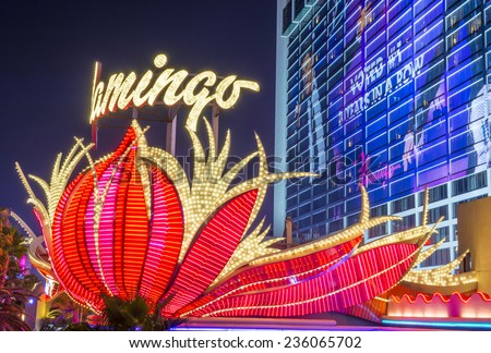 LAS VEGAS - DEC 04 : The Flamingo hotel and casino on December 04 , 2014 in Las Vegas. The hotel opened by Bugsy Segal on 1946 and it's the oldest resort on the Strip still in operation - stock photo