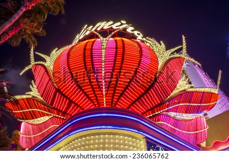 LAS VEGAS - DEC 04 : The Flamingo hotel and casino on December 04 , 2014 in Las Vegas. The hotel opened by Bugsy Segal on 1946 and it's the oldest resort on the Strip still in operation