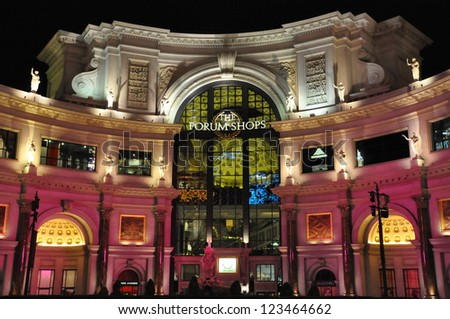 LAS VEGAS - DECEMBER 2: Forum Shops in Las Vegas on December 2, 2012. The venue includes more than 160 shops and haute couture boutiques, as well as 11 gourmet restaurants. - stock photo