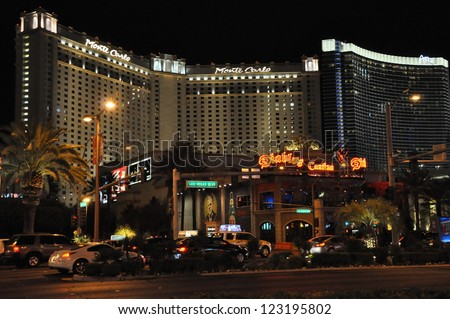 LAS VEGAS - DECEMBER 4: Monte Carlo Hotel & Casino on December 4, 2012 in Las Vegas, Nevada. The Monte Carlo opened to the public on June 21, 1996 and cost US$344 million to build. - stock photo