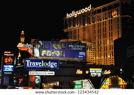 LAS VEGAS - DECEMBER 4: Planet Hollywood Resort and Casino on December 4, 2012 in Las Vegas. Planet Hollywood has over 2,500 rooms available and is located on Las Vegas Boulevard. - stock photo