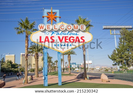 "LAS VEGAS - DECEMBER 6:  the famous ""Welcome Sign"" on December 6, 2013 in Las Vegas. - stock photo"
