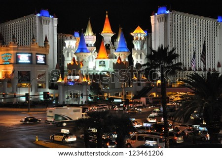 LAS VEGAS - DECEMBER 4: Towers of the Excalibur Hotel and Casino on December 4, 2012 in Las Vegas, Nevada. The Excalibur is on the north end of the Strip and opened in the year 1990. - stock photo