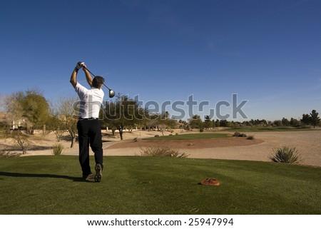 Las Vegas Desert Golf Course Man Teeing Off - stock photo