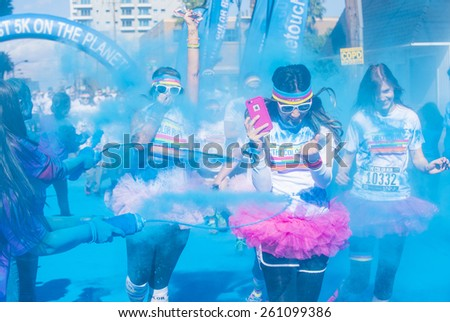 LAS VEGAS - FEB 28 : An unidentified runners at the Las Vegas Color Run on February 28 2015. The Color Run is a 5k worldwide hosted fun race