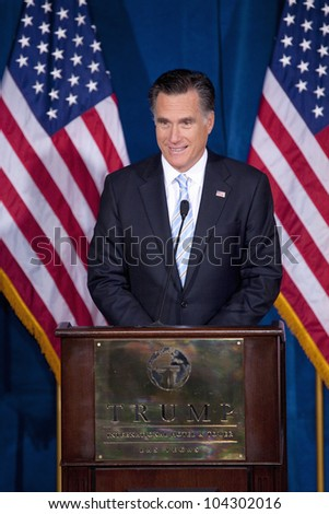 LAS VEGAS - FEB 2: Mitt Romney speaks at the Trump Hotel on February 2, 2012 in Las Vegas, Nevada. Donald Trump (off camera) is endorsing Romney for president. - stock photo