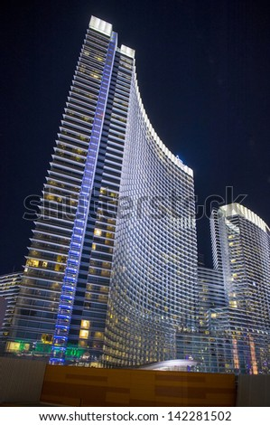 LAS VEGAS - FEB 14 : The Aria Resort and Casino in Las Vegas on February 14 2013. The Aria is the world's largest hotel to receive LEED Gold certification - stock photo
