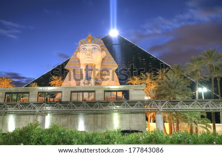 LAS VEGAS - FEB 3: The Luxor hotel and casino on February 3, 2014 in Las Vegas. Has received recognition as being among the most recognizable hotels on the Strip because of its unique design - stock photo