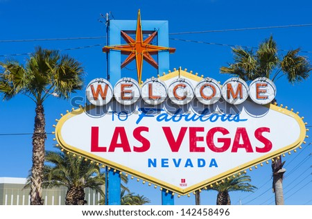 LAS VEGAS - FEB 26 : The Welcome to Las Vegas Sign on February 26, 2013 in Las Vegas. Las Vegas in 2012 is broke the all-time visitor volume record of 39-plus million visitors - stock photo