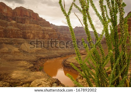 Las vegas Grand Canyon colorado river red with big wall - stock photo