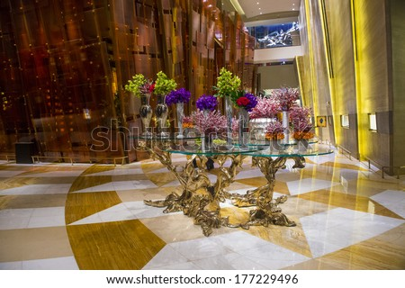 LAS VEGAS - JAN 13 : Art installation in the Aria Resort and Casino in Las Vegas on January 13 2014. The Aria was opened on 2009 and is the world's largest hotel to receive LEED Gold certification - stock photo