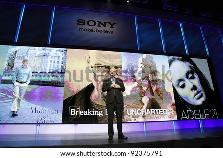 LAS VEGAS - JAN 9: Sony CEO Howard Stringer hosts the Sony press conference at the 2012 International CES in Las Vegas, NV on January 9, 2012. - stock photo