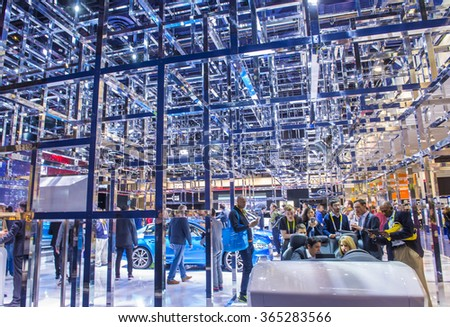 LAS VEGAS - JAN 08 : The Audi booth at the CES Show in Las Vegas, Navada, on January 08, 2016. CES is the world's leading consumer-electronics show. - stock photo